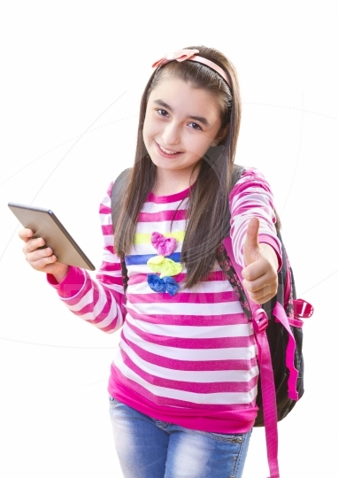 Smiling teenager girl with backpack and digital tablet