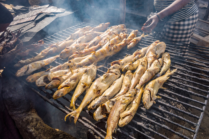 Smoking fish on a grill using charcoal