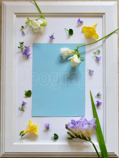 Spring freesia flowers on empty photo frame