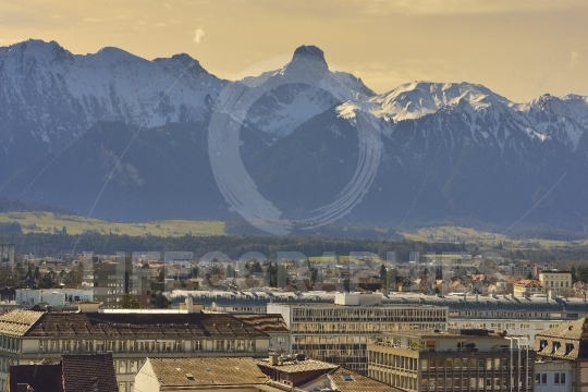 Stockhorn peak and Thun city