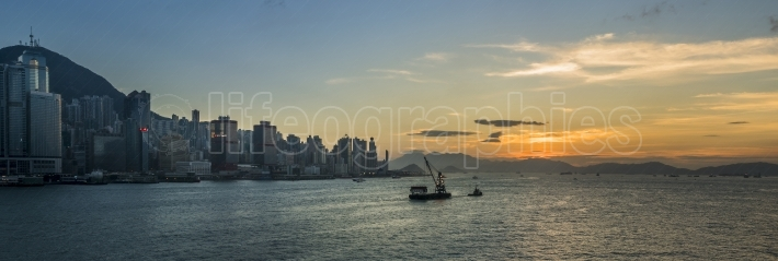 Sunset at Victoria Harbor of Hong Kong