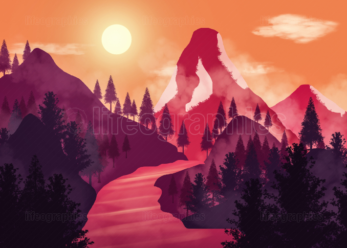 Sunset landscape. Illustration