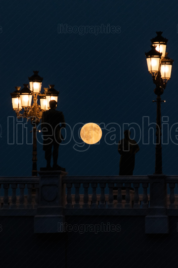 Super moon taken over the Bridge of Arts in Skopje, Macedonia