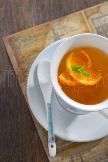 Tea with orange slices