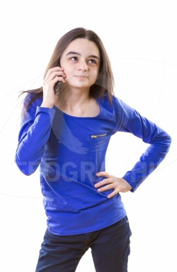 Teenage girl with smartphone
