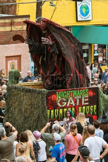 Terrifying Monster Rises Up On Parade Float At Halloween Parade