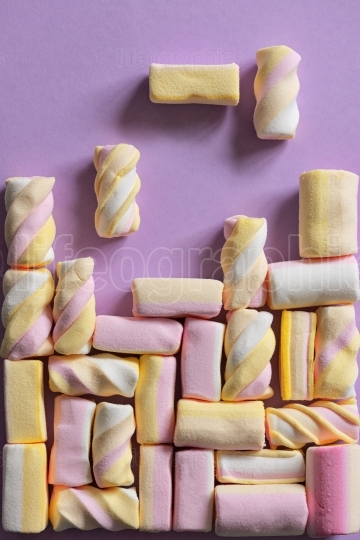 Tetris game with marshmallow sweets