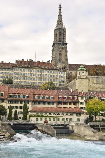 The Bern Minster and river side old city (Berner Münster) from Bern. Switzerland