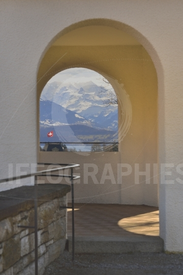 The landscape view of Thun Switzerland looking from a stone tower window