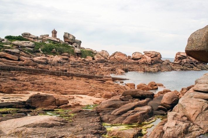 The pink granite coast , at Ploumanach,  Brittany, France