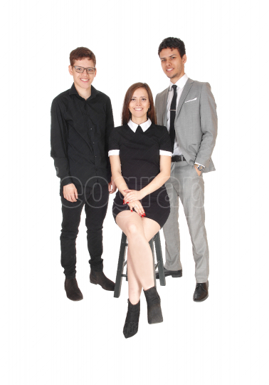 Three teenager standing for a family photo