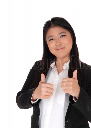 Thumb s up from a Chinese business woman
