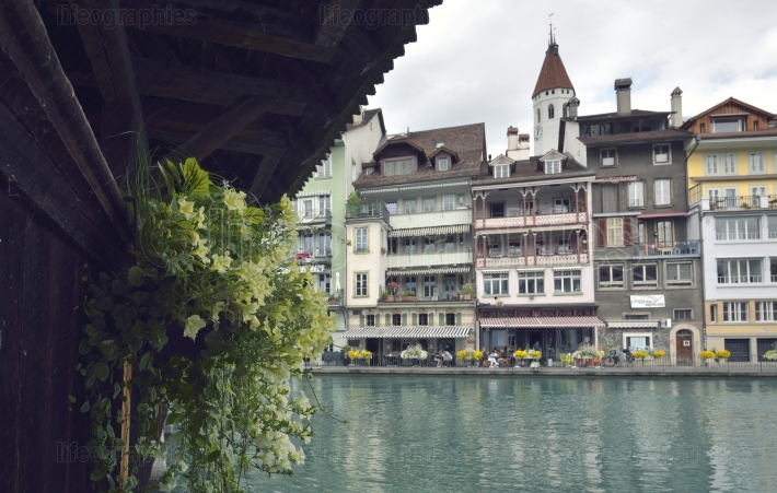 Thun city and river in Aare, Switzerland