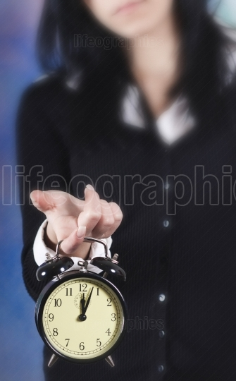Time concept. Business woman clock