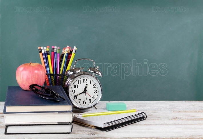 Time for back to school concept including books and stationery s