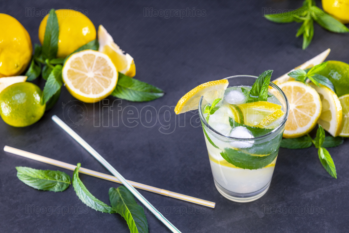 Top view of fresh lemonade with mint in glasses