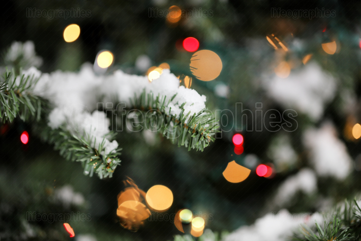 Traditional artificial Christmas tree with glowing lights and sn