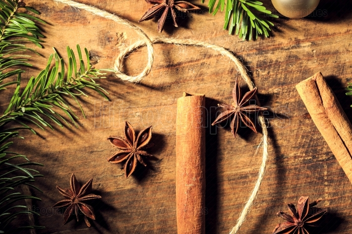 Traditional Christmas spices star anise and cinnamon stick