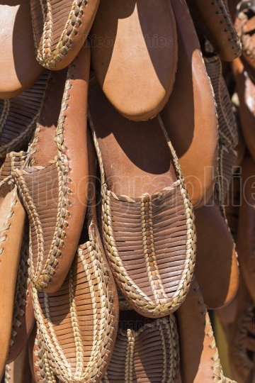 Traditional leather shoes, Skopje, Macedonia.