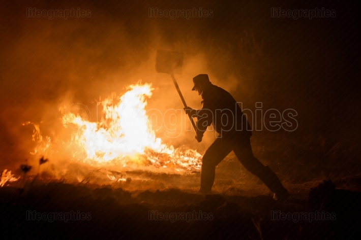 Tulcea, Romania  Sept 28th, 2017  Firefighter try to extinguish a fire that broke out hills