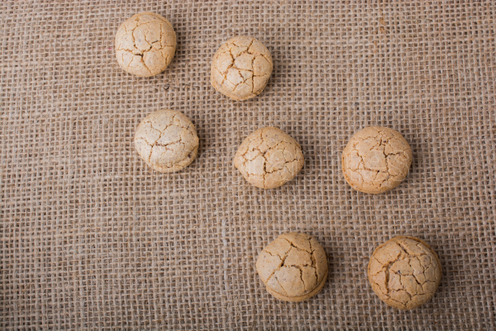 Turkish almond cookies on a linen canvas