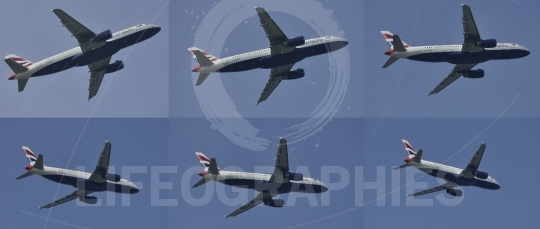 Twin engine superjet high-bypass turbofan airplane flying in different positions