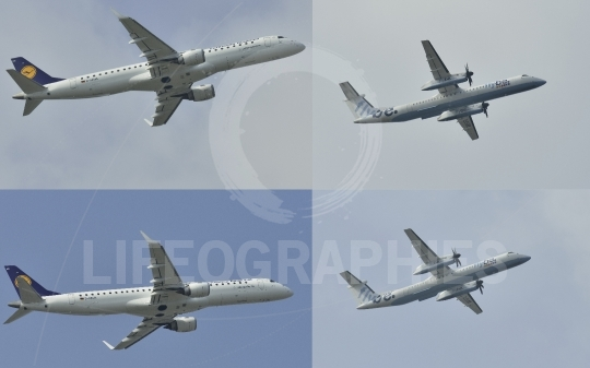 Twin engined medium range turboprop airplane flying in different positions