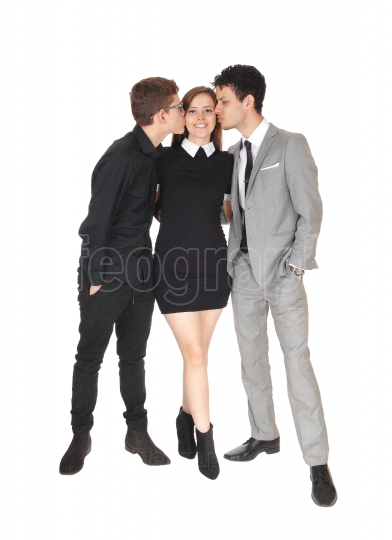 Two teen boys kissing the sister