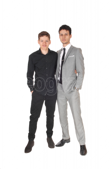 Two young teenager standing in the studio