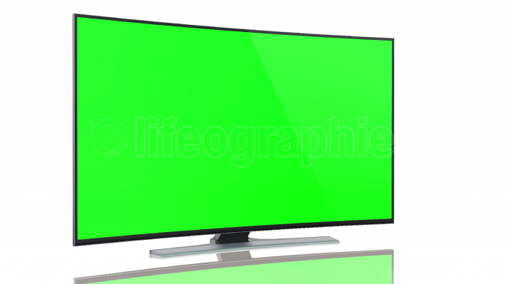 UltraHD Smart Tv with Curved green screen on white