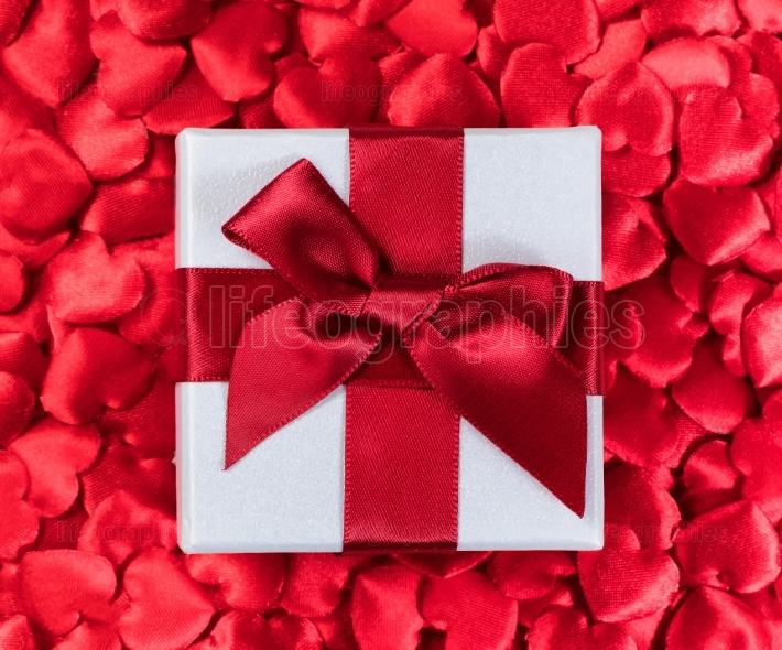 Valentines gift box with red hearts