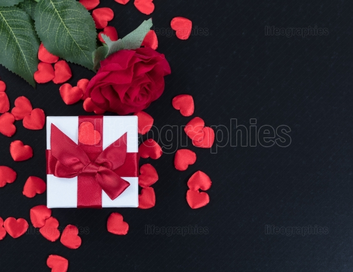 Valentines Gifts on dark stone background