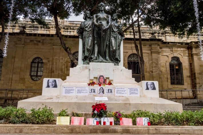VALLETTA, MALTA   NOVEMBER 28, 2019 Flowers, candles and tribute