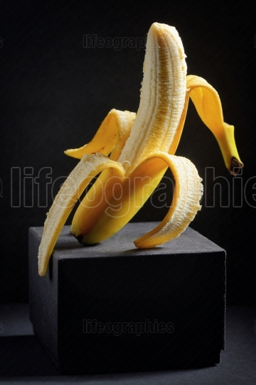 Vertical peeled banana