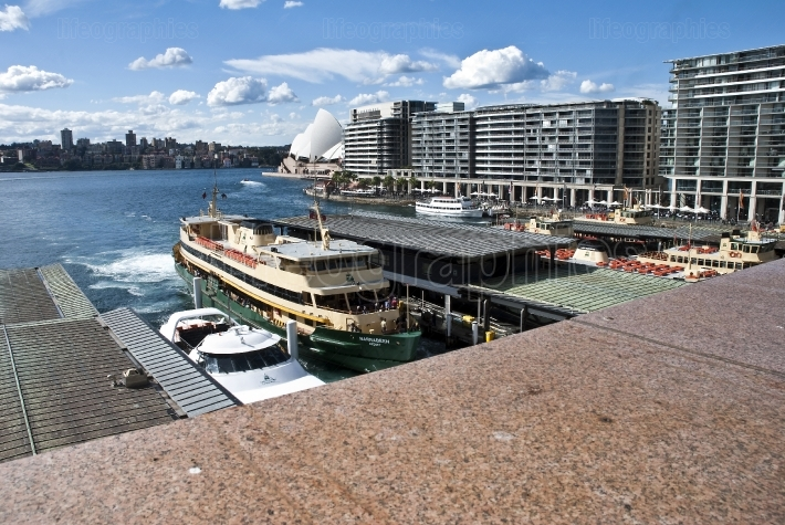 View across busy Circular Quay to the opera house.