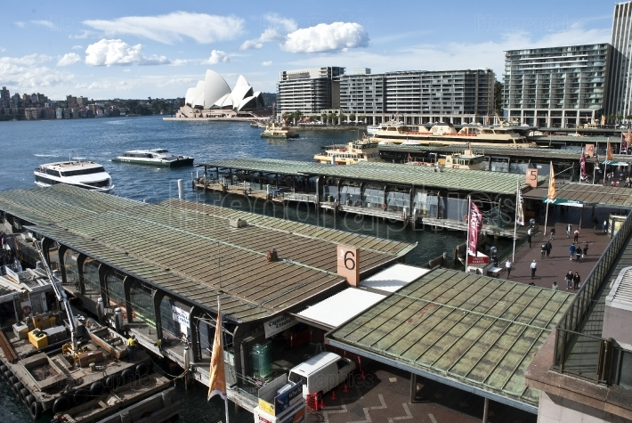 View across busy Circular Quay to the opera house