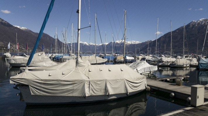 View at Lugano Lake and boats