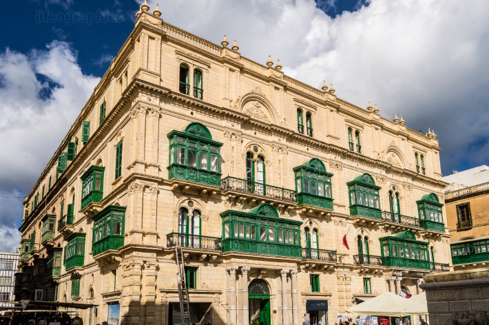 View of a building located in the city of Valletta in Malta