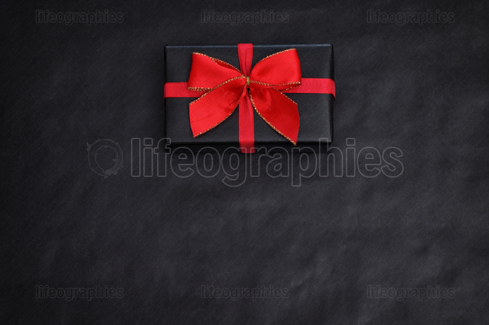 View Of Black Paper And A Gift