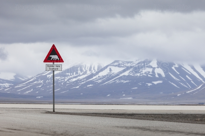 Warning sign polar bears, Spitsbergen, Svalbard, Norway