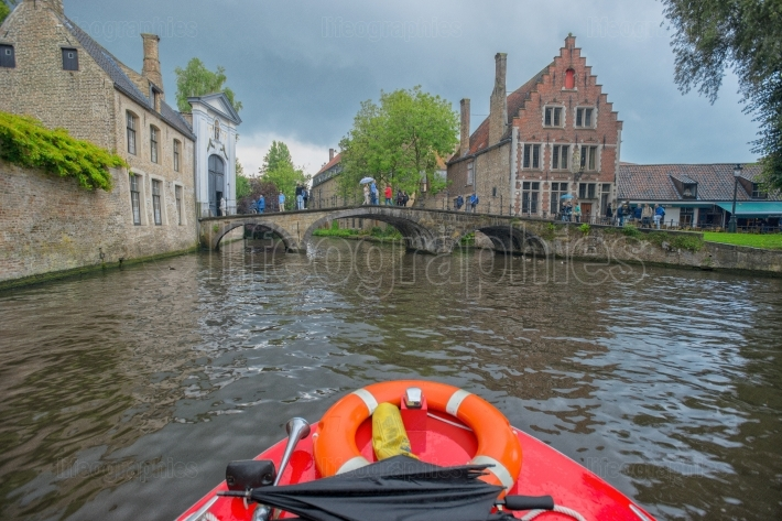 Water canal and bridge in Brugge, Belgium