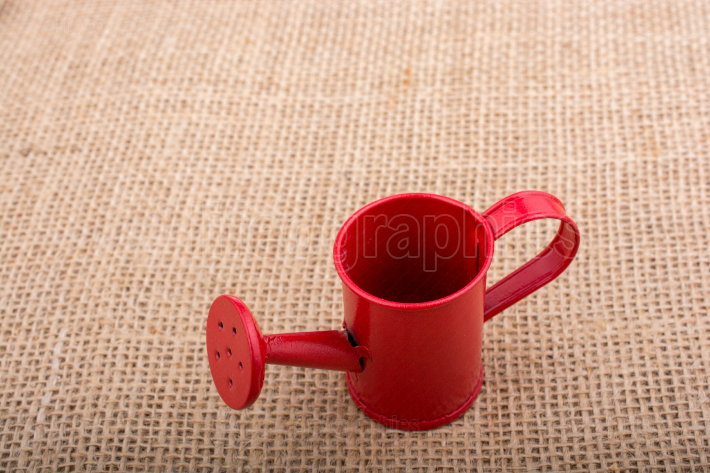 Watering can on  canvas background