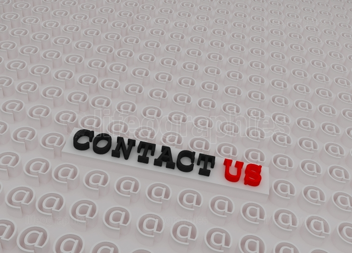 White 3d Contact us Text