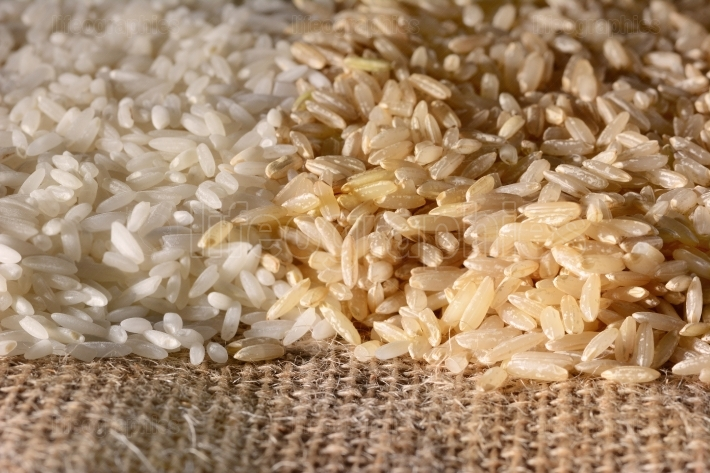 White and Brown Rice Closeup