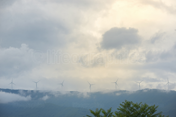 Windmills on Greek hills