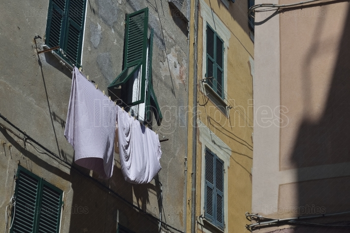 Windows with laundry from Varazze