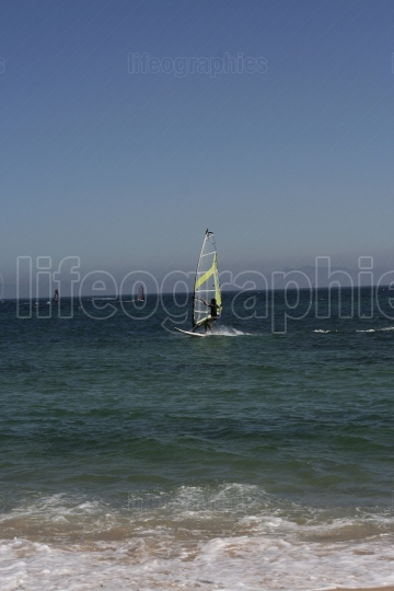 Windsurfer arrives to the beach