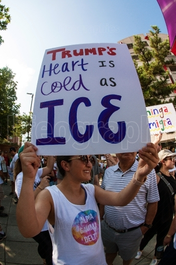 Woman Holds Anti ICE Sign At Atlanta Immigration Protest