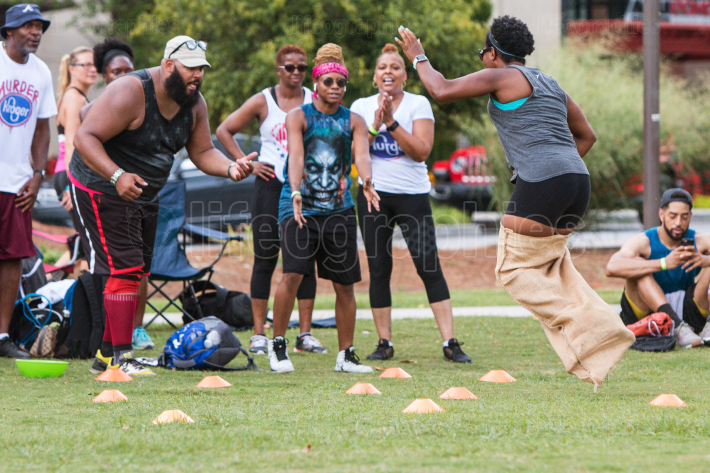 Woman Hops In Sack Race Event At Atlanta Field Day