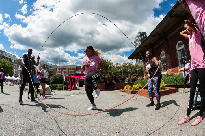 Woman Jumps Rope Double Dutch Style At Atlanta Fitness Event